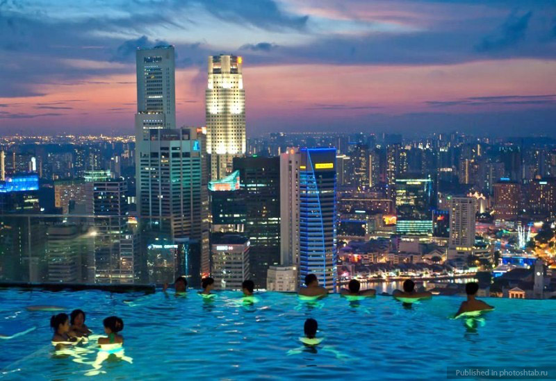 Infinity Pool Of Marina Bay Sands Hotel In Singapore