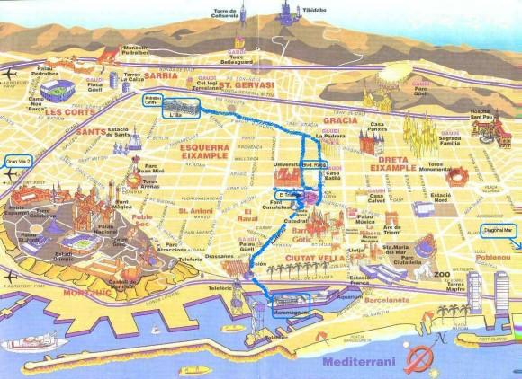 План маршрута Barcelona Shopping Line