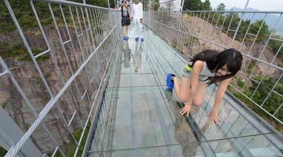 Glass-bottom Brave Men's bridge in the Shiniuzhai National Geological Park