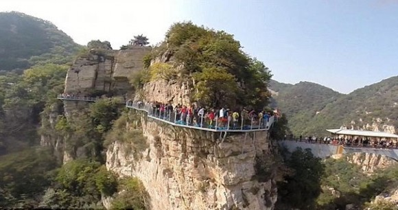 Glass-bottom walkway in Yuntai mountains