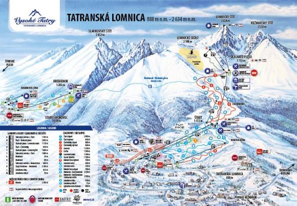 Татранська Ломниця (Високі Татри). Карта лижних маршрутів