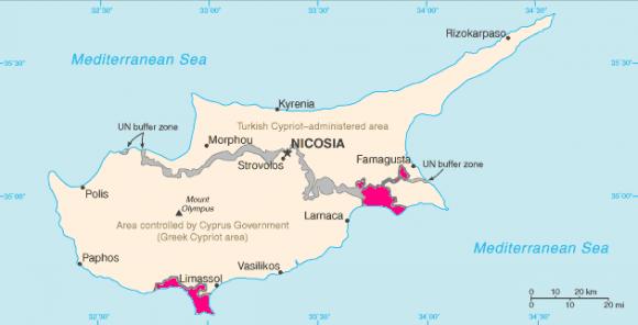 Британські бази Акротірі й Декелія на карті Кіпру