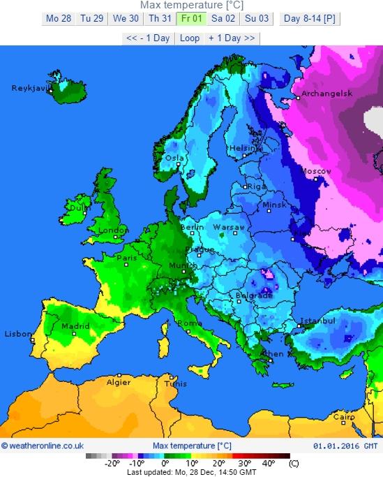 Карта температур у Європі 1 січня 2016