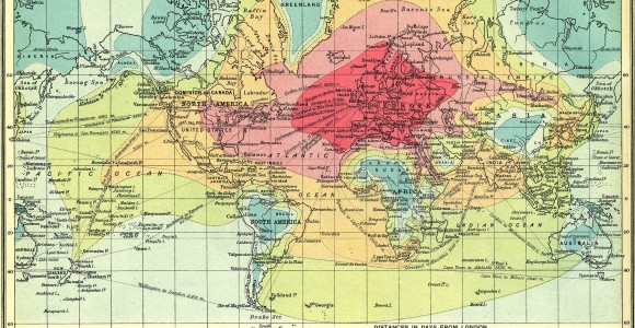 isochronic map_travel within 5 days from UK 1914