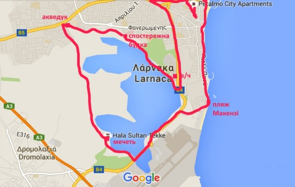 Larnaca Solt Lake map - walk around