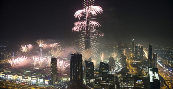 DUBAI, UNITED ARAB EMIRATES - JANUARY 01: Fireworks mark the beginning of the new year at the Burj Khalifa on January 1, 2016 in Dubai, United Arab Emirates.  PHOTOGRAPH BY Syed Ali Adeel Bukhari  UK Office, London. T +44 845 370 2233 W www.barcroftmedia.com  USA Office, New York City. T +1 212 796 2458 W www.barcroftusa.com  Indian Office, Delhi. T +91 11 4053 2429 W www.barcroftindia.com