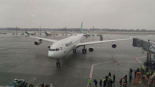 """Літак Mahan Air, який здійснив перший рейс із Києва до Тегерана з аеропорту """"Бориспіль"""""""